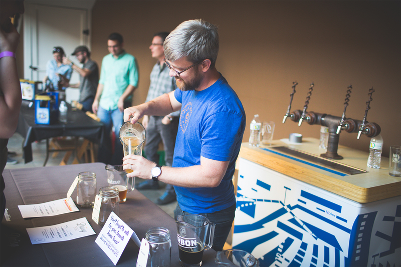 Pouring beer at Artoberfest