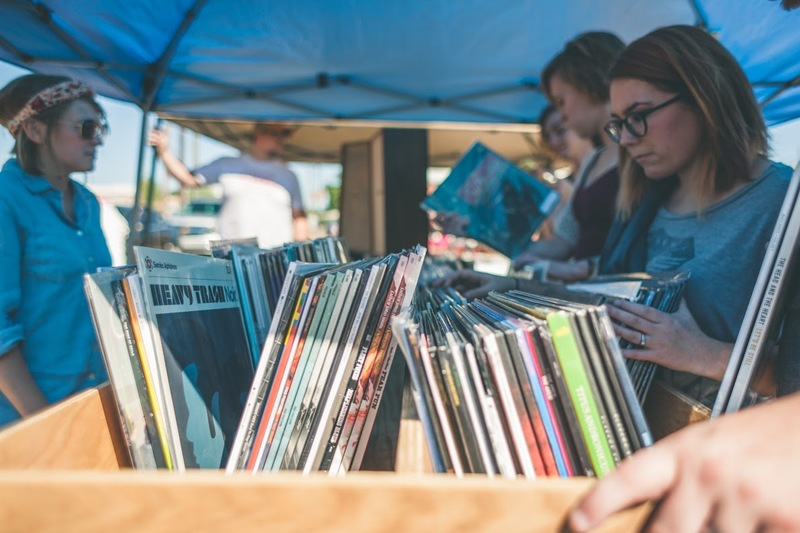 People shopping for records at the Makers Fair